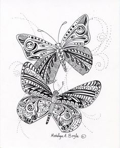 ORIGINAL ZENTANGLE BUTTERFLIES; pen and ink doodles, nature, wall art, 5 x 7 inch, miniature art,