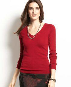 Fine Ribbed V-Neck Sweater