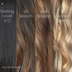 Brunette Balayage & Hair Highlights : From black to blonde with balayage sessions and Olaplex Hair Lights, Ombre Hair, Balayage Hair, Hair Dye, Haircolor, Black To Blonde Hair, From Brunette To Blonde, Brown To Blonde Hair Before And After, Olaplex Before And After