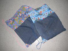 Kids swimming bags using recycled denim