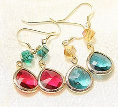 1 Pair Of Crystal Emerald Gold Plated Silver Earrings