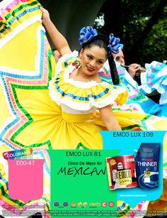Kawan EMCO, hadirkan kemeriahan festival Cinco De Mayo dengan pilihan warna EMCO LUX 109, EMCO LUX 81, dan EMCO COLORAMA E00-47 dalam hunian Anda. Untuk artikel menarik lainnya silahkan cek di http://matarampaint.com/news.php.
