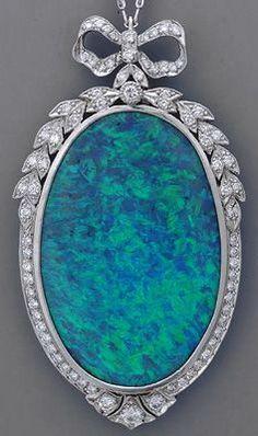 Art Deco Coober Pedy Opal Necklace