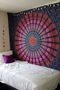 Buy ON Sale! pink and purple large mandala wall tapestry cotton bedding bedspread at best price. Shipping worldwide USA, UK, Canada, Australia and more.