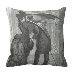 Vampire Kiss Victorian/Gothic Decorative Pillow