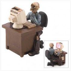 Skeletal Office Worker Figurine