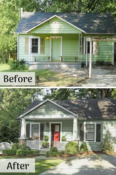 House exterior makeover before and after curb appeal best ideas Home Exterior Makeover, Exterior Remodel, Diy Exterior, Cottage Exterior, Exterior Home Renovations, Exterior Renovation Before And After, Home Exteriors, Cheap Renovations, Porch Makeover