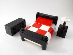 LEGO Furniture: Bedroom Set w/ Bed, Nightstand & Dresser (Red)  city,lot,town