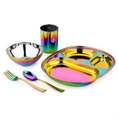 (1) Children's Stainless Steel Dinnerware Set, Rainbow – AHIMSA®