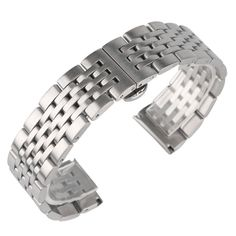 High Quality Silver 20mm 22mm 24mm Watch Band Stainless Steel Men Women Strap Replacement Push Button Hidden Clasp #Affiliate