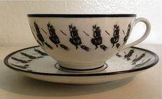 1884 Petersyn Witch Fortune Telling Leaf Reading Tea Cup Set. Private Collection