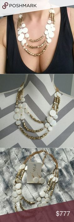 Necklace and earring set NWOT Brand new with tags  Price is firm  Boutique item   Perfect for spring /summer, this necklace features gold metal beads and shells details. Pair with you favorite dress or wear with your bikini. Earrings included. Jewelry Necklaces