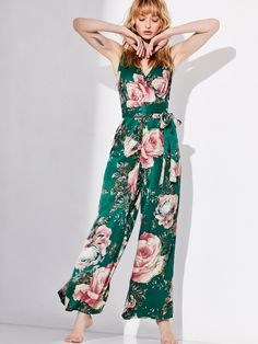Cabbage Rose Romper | Floral printed silky jumpsuit in a wide leg silhouette.    * Surplice neckline * Wrap waist with an adjustable tie * Hidden back zip closure * Adjustable straps