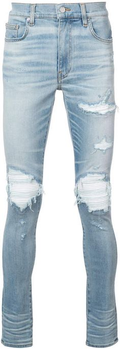Amiri MX1 leather patch jeans Ripped Skinny Jeans, Slim Jeans, Patch Jeans, Indigo, Patches, Cotton, Pants, Leather, Men
