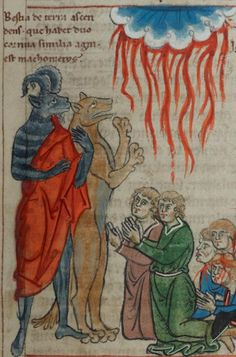 detail of f. 85r (people worshipping the Beast and his statue). Alexander of Bremen, Expositio in Apocalypsim (1250-1260), Cambridge Digital Library, MS Mm.5.31.