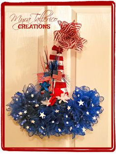 Patriotic Hats, Patriotic Wreath, 4th Of July Wreath, Diy Wreath, Mesh Wreaths, Holiday Wreaths, Grapevine Wreath, 4th Of July Decorations, Diy Halloween Decorations