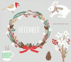 CLIP ART - December - for commercial and personal use