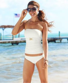 MICHAEL Michael Kors Bandeau.- I am liking these appropriate swimsuits.