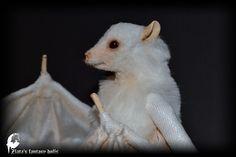Bat white Soft Sculpture Handmade OOAK toy by ZlatasFantasyForest