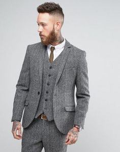 Browse online for the newest Heart & Dagger Harris Tweed Skinny Suit in Gray styles. Shop easier with ASOS' multiple payments and return options (Ts&Cs apply). Latest Fashion Clothes, Latest Fashion Trends, Fashion Online, Suit Fashion, Mens Fashion, Skinny Suits, Harris Tweed, Mens Suits, Suit Men