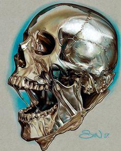 finished this golden melting skull! Reference from Done with prismacolor pencils on strathmore grey paper. Skull Tattoo Design, Skull Design, Skull Tattoos, Skull Artwork, Skull Painting, Dibujos Tumblr A Color, Skull Reference, Totenkopf Tattoos, Skeleton Art