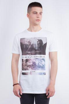 "Longline T-Shirt In ""Human"" Print"