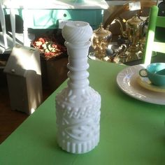 Vintage milk glass liquor decanter for sale in our Etsy shop. Nationwide shipping.