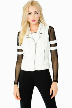 Toughen up any look with this amazing moto vest. Crinkled pu body. Pointed collar. Asymmetric front zip closure. Front zip pockets. Full lining. Medium in weight.
