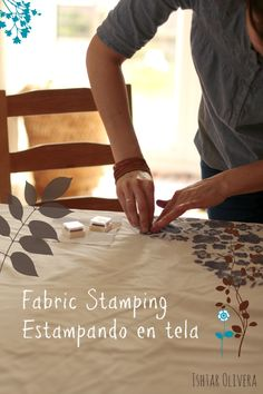 Stamping on fabric ♥ Estampando en tela by Olivera Gelli Plate Printing, Stamp Printing, Printing On Fabric, Screen Printing, Fairy Crafts, Dyi Crafts, Make Your Own Stamp, Fabric Board, Bear Drawing