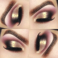 Gold and pink eyeshadow Bridal Eye Makeup, Gold Makeup, Eyeshadow Makeup, Makeup Art, Lip Makeup, Beauty Makeup, Pink Eyeshadow, Glamorous Makeup, Dramatic Makeup