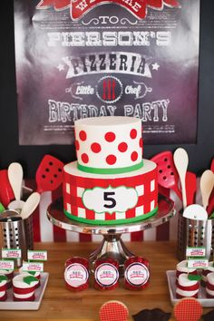 Modern Italian Little Chef Pizza Party Cake