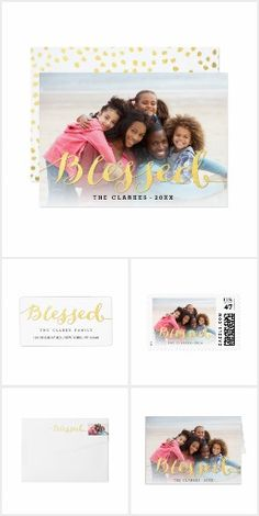 Gold Script Blessed Holiday Photo Card Collection