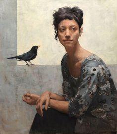 Title: Blackbird Artist: Elena Arcangeli Medium: Oil on Canvas Dimensions: x Painting People, Figure Painting, Painting & Drawing, Woman Painting, Florence Academy Of Art, Foto Art, Art Graphique, Portrait Art, Portrait Paintings