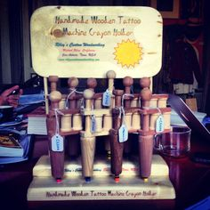 Just came in: Handmade Wooden Tattoo Machine Crayon Holder