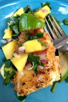 Coconut Crusted Tilapia with Mango Salsa Made a variation of this last week. It was delicious! Loved the mango salsa. Fish Recipes, Seafood Recipes, New Recipes, Cooking Recipes, Healthy Recipes, Talapia Recipes Healthy, Recipies, Mango Recipes, Juicer Recipes
