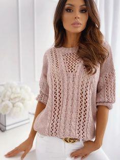 Lace Knitting Patterns, Knitting Designs, Knit Fashion, Sweater Fashion, Pullover Mode, Summer Knitting, Cable Knit Sweaters, Women's Sweaters, Winter Sweaters