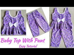 Baby Top with Pant Cutting And Stitching Neck Designs For Suits, Fancy Blouse Designs, Baby Pageant Dresses, Cool Baby Clothes, Baby Frocks Designs, Frock Design, Sewing Techniques, Couture, Gujarati Quotes