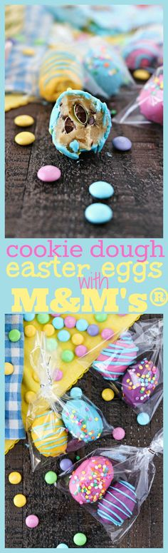 Cookie Dough Easter Eggs with M&M's® - Chewy edible chocolate chip cookie dough truffles with M&M'S® Milk Chocolate, rolled into egg shapes, and dipped into fun colored candy melts to make them look like Easter eggs. The perfect treats to make for Easter! #SweeterEaster #ad @walmart