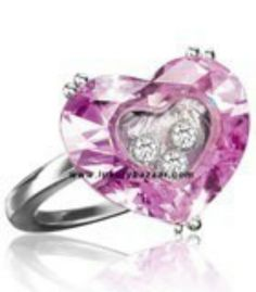 228f0898622 Chopard So Happy Pink Stone Heart 3 Floating Diamonds White Gold 65