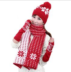 Christmas snowflake hat scarf and gloves set for women winter knit hats