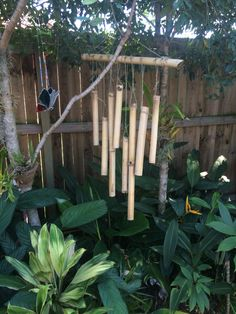 DIY bamboo wind chime Made from the bamboo grown in my garden DIY Bambus Windspiel Hergestellt aus B Bamboo Wind Chimes, Diy Wind Chimes, Bamboo Crafts, Wooden Projects, Adult Crafts, Yard Art, Bird Houses, Backyard, Patio