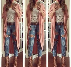 Ripped jeans and kimono
