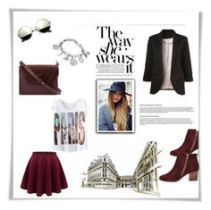 """""""One day in Paris"""" by riborn ❤ liked on Polyvore featuring River Island, WithChic and Anne Klein"""