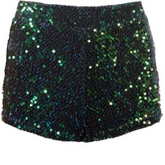 Motel Spandangle Short in Iridescent Green ($23) ❤ liked on Polyvore featuring shorts, bottoms, skirts, short, green shorts, mini short shorts, green sequin shorts, fitted shorts and sequin hot shorts
