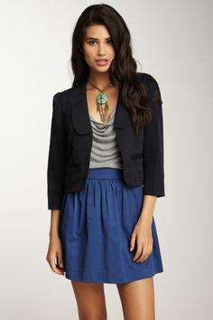 #I have this skirt in green! Cute outfit idea.  Black Blazer #2dayslook #new #BlackBlazer #fashion  www.2dayslook.nl