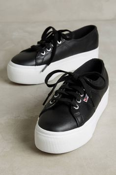Slide View: 1: Superga Leather Platform Sneakers