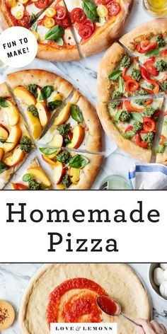 Learn how to make homemade pizza with this easy recipe! Prep your dough, make your sauce, and then finish it all with your favorite toppings. A great choice for entertaining or any fun night in. | Love and Lemons #pizza #homemadepizza #healthyrecipes #dinnerrecipes