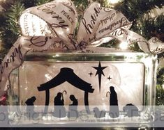 Nativity Scene - Christmas Vinyl Lettering for Glass Blocks - Holiday Craft Decals - Rectangle Block Christmas Glass Blocks, Christmas Vinyl, Christmas Ideas, Christmas Stuff, Holiday Ideas, Christmas Decorations, Vinyl Crafts, Vinyl Projects, Craft Projects