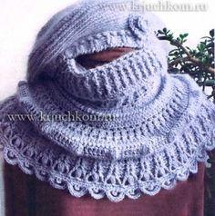 Модное вязание крючком на зиму берет и шарф