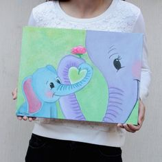 Elephant Nursery Art/Valentine's Day Gifts/Gift for Mom/Pachyderm Pals/Elephant Nursery Wall Art/Baby Elephant/Elephant Art/Painting Baby Room Paintings, Cute Canvas Paintings, Baby Painting, Painting For Kids, Acrylic Painting Canvas, Elephant Paintings, Elephant Canvas Painting, Elephant Nursery Art, Elephant Elephant